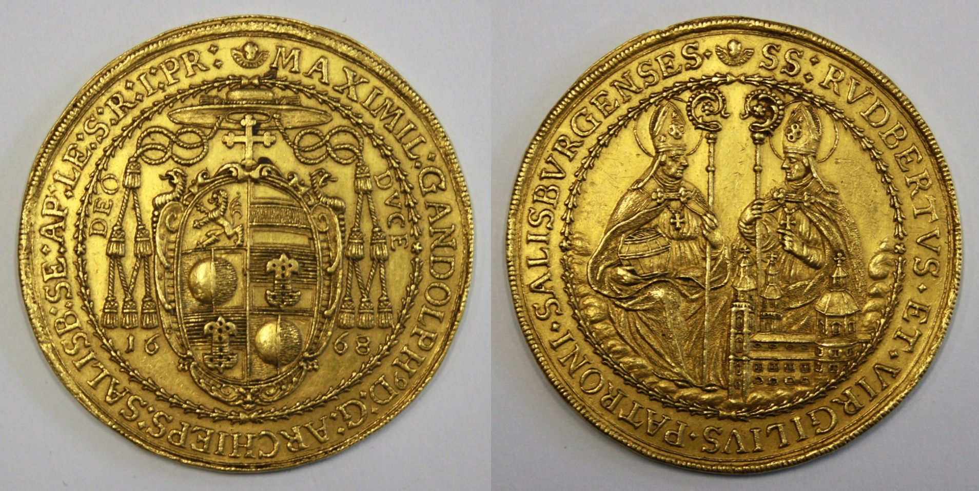Max Gandolph Graf Kuenburg: 10facher Dukat 1668 auf die Wahl