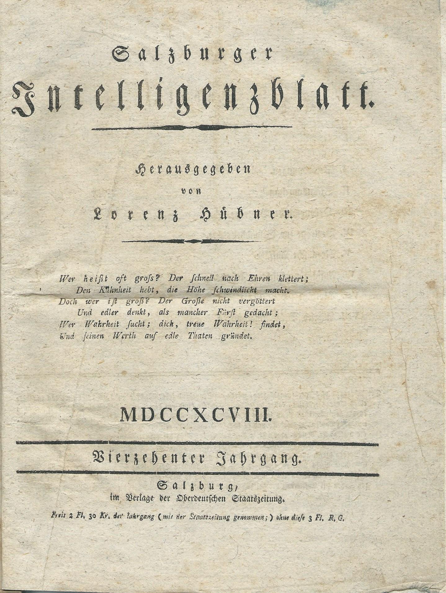 Salzburger Intelligenzblatt, Salzburg 1798