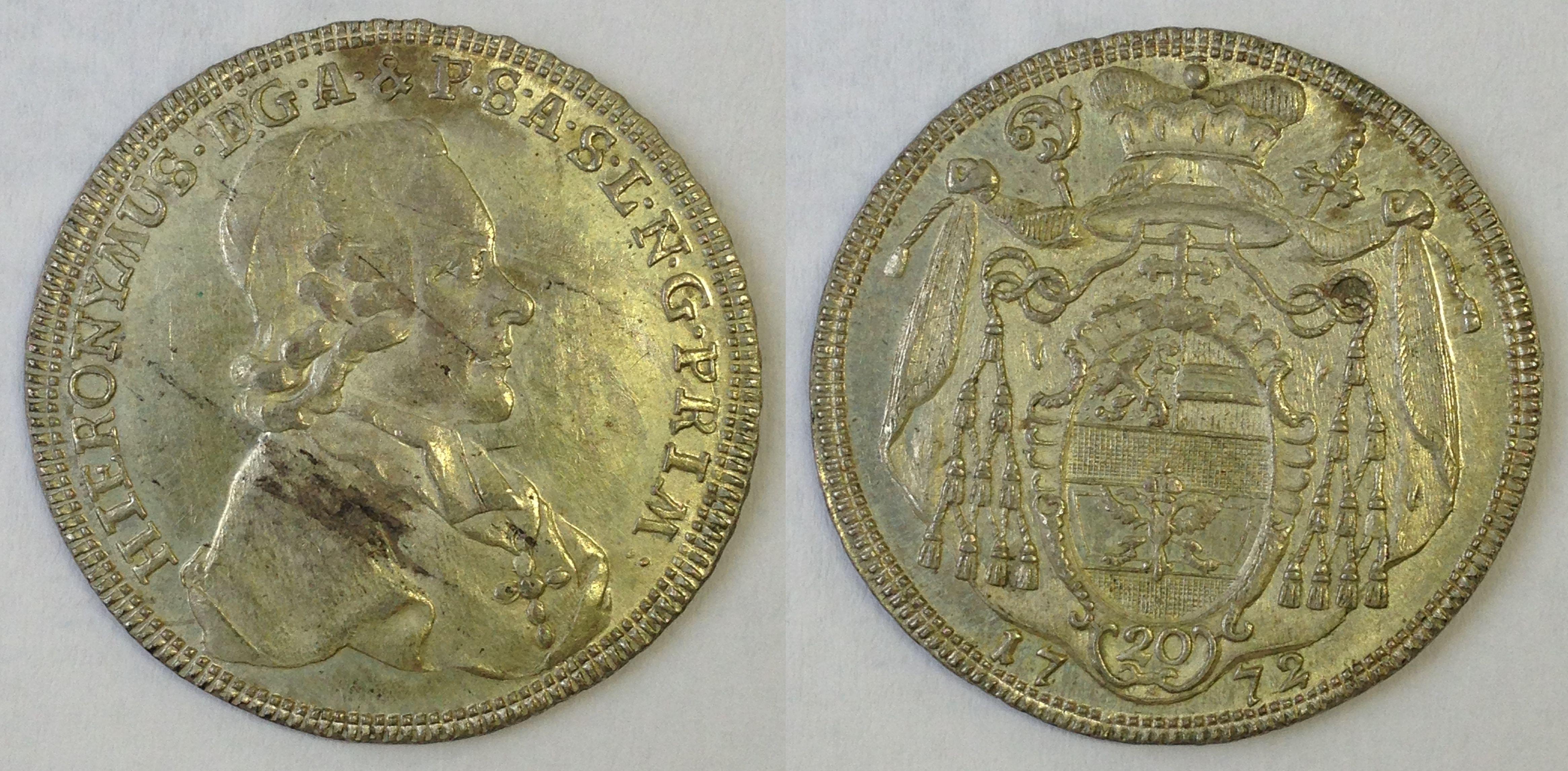 20 Kreuzer 1772, Münzkabinett Prag