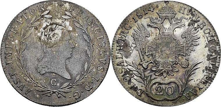 20 Kreuzer 1814 C Prag mit Titel SALZBURG (Peus 413)