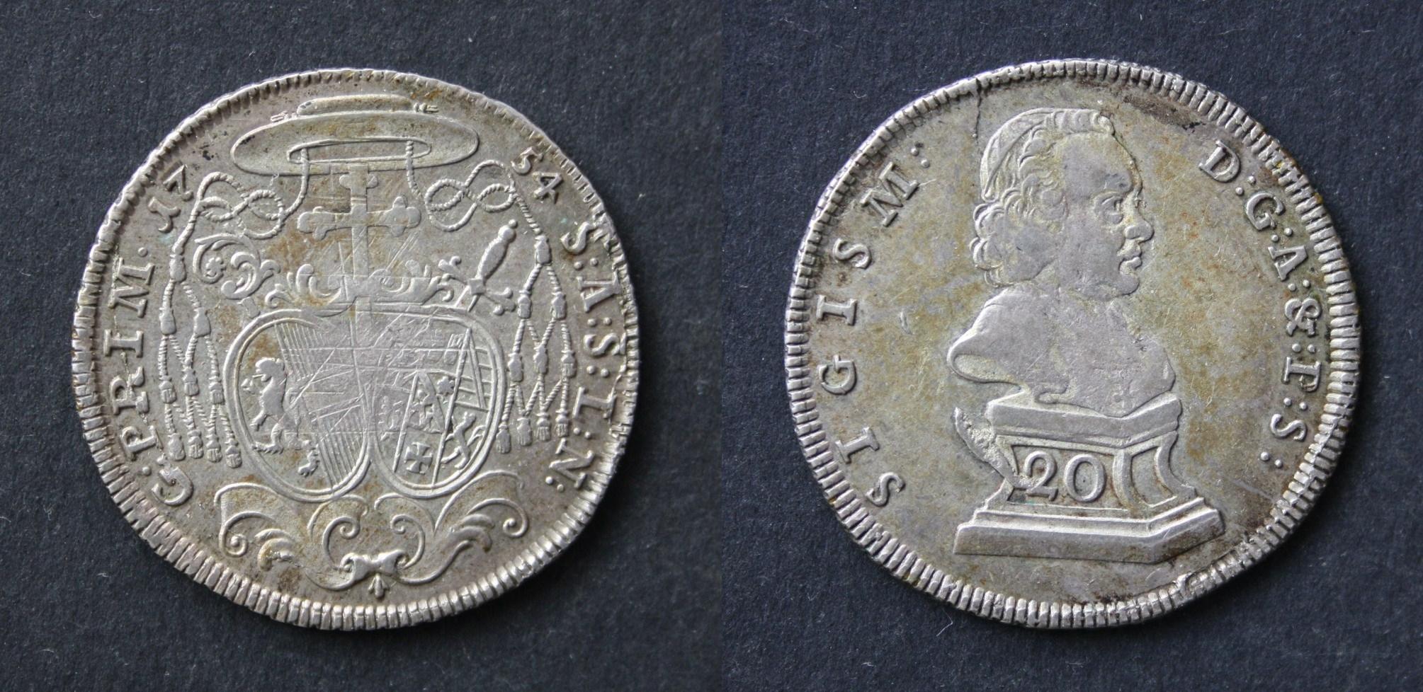 Sigismund Schrattenbach: 20 Kreuzer Prototyp 1754