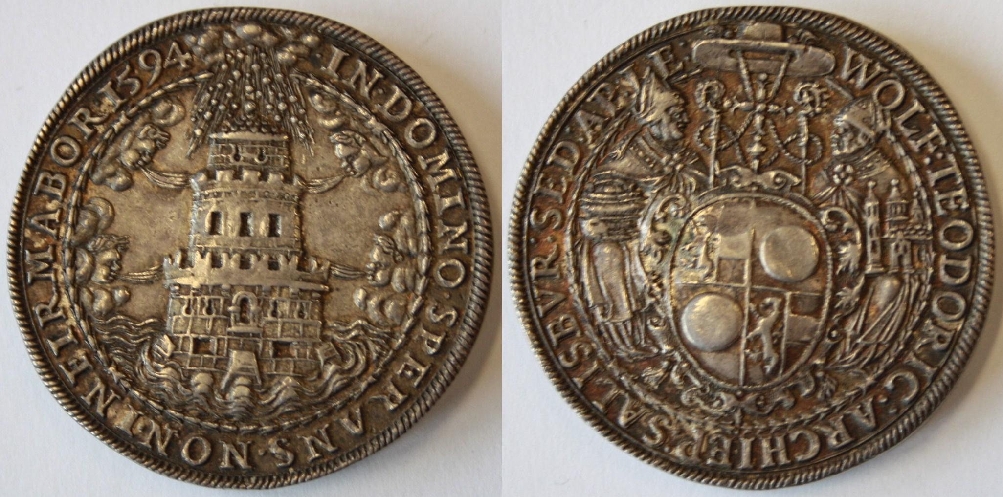 Doppelter Turmtaler 1594 mit einfachem Wappen