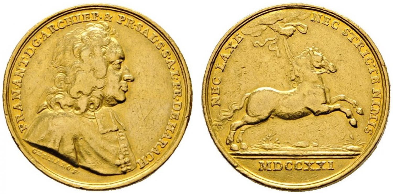 Franz Anton Harrach:Fünf Dukatenmedaille 1721, Bild: Auktionshaus Rauch, Wien