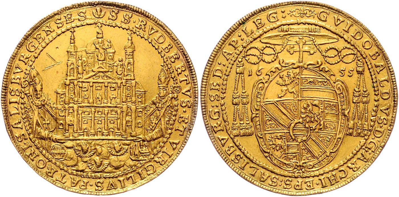 5 Dukaten 1655 Salvatorstatue, Auktionen Frühwald, Salzburg.