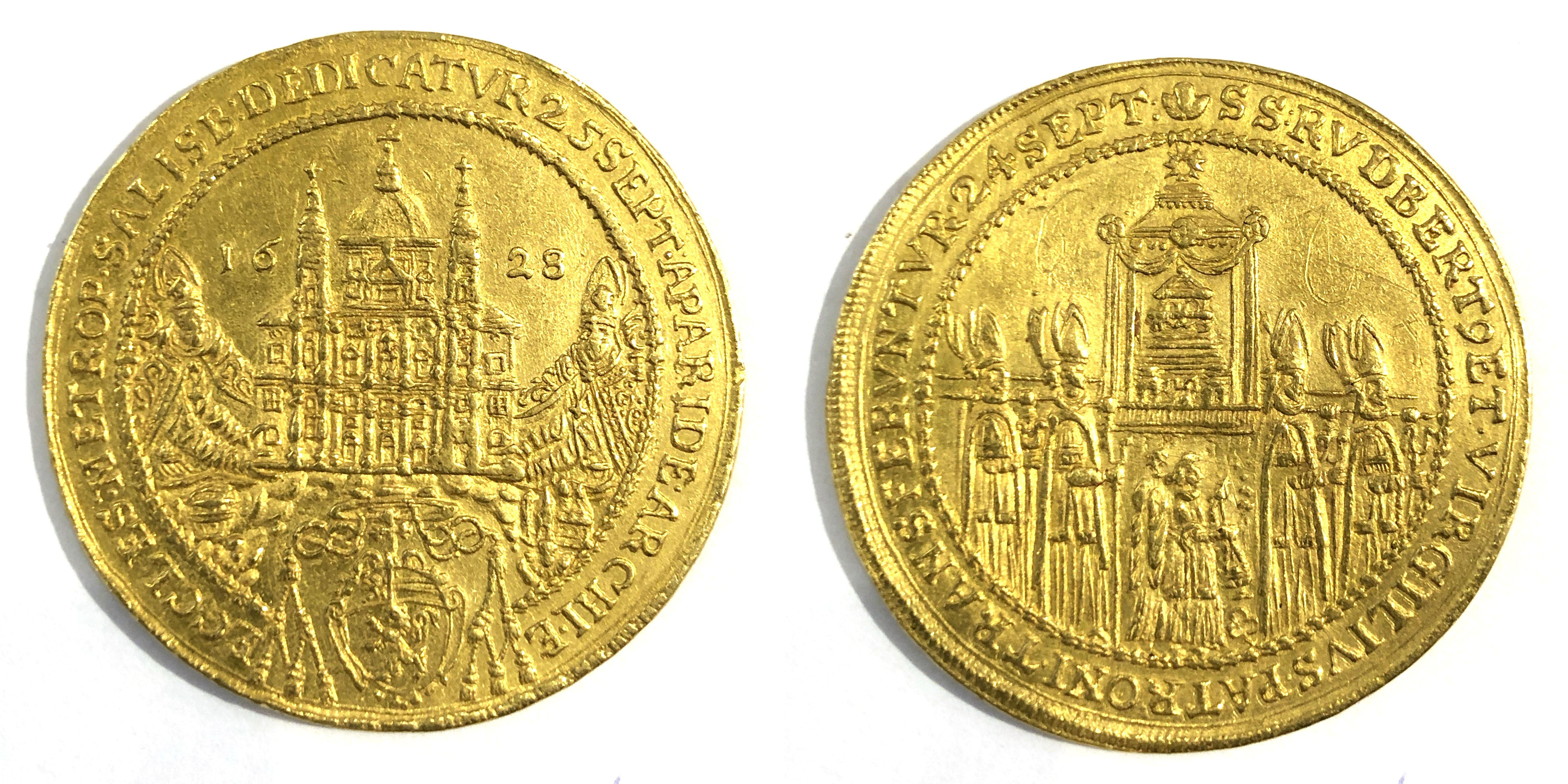 Sechsfacher Dukat auf die Domweihe 1628 mit Beizeichen Kleeblatt. Bild:Macho