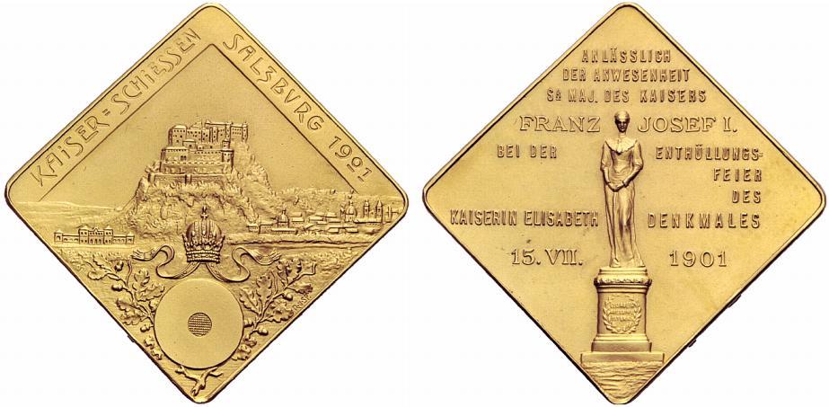 6 fache Dukatenklippe auf die Enthüllung des Kaiserin Elisabeth Denkmals 1901