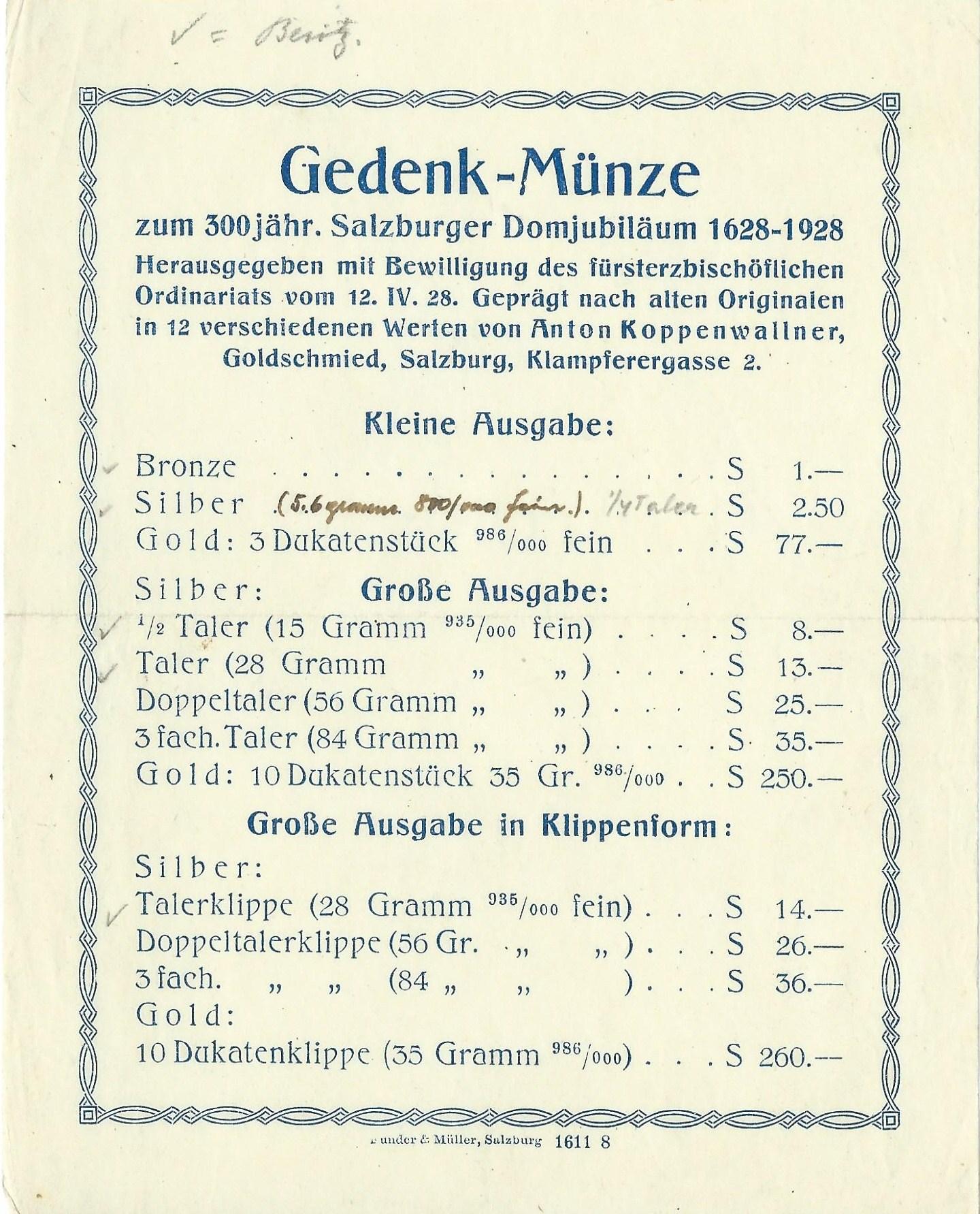 Domweihjubiläum 1928