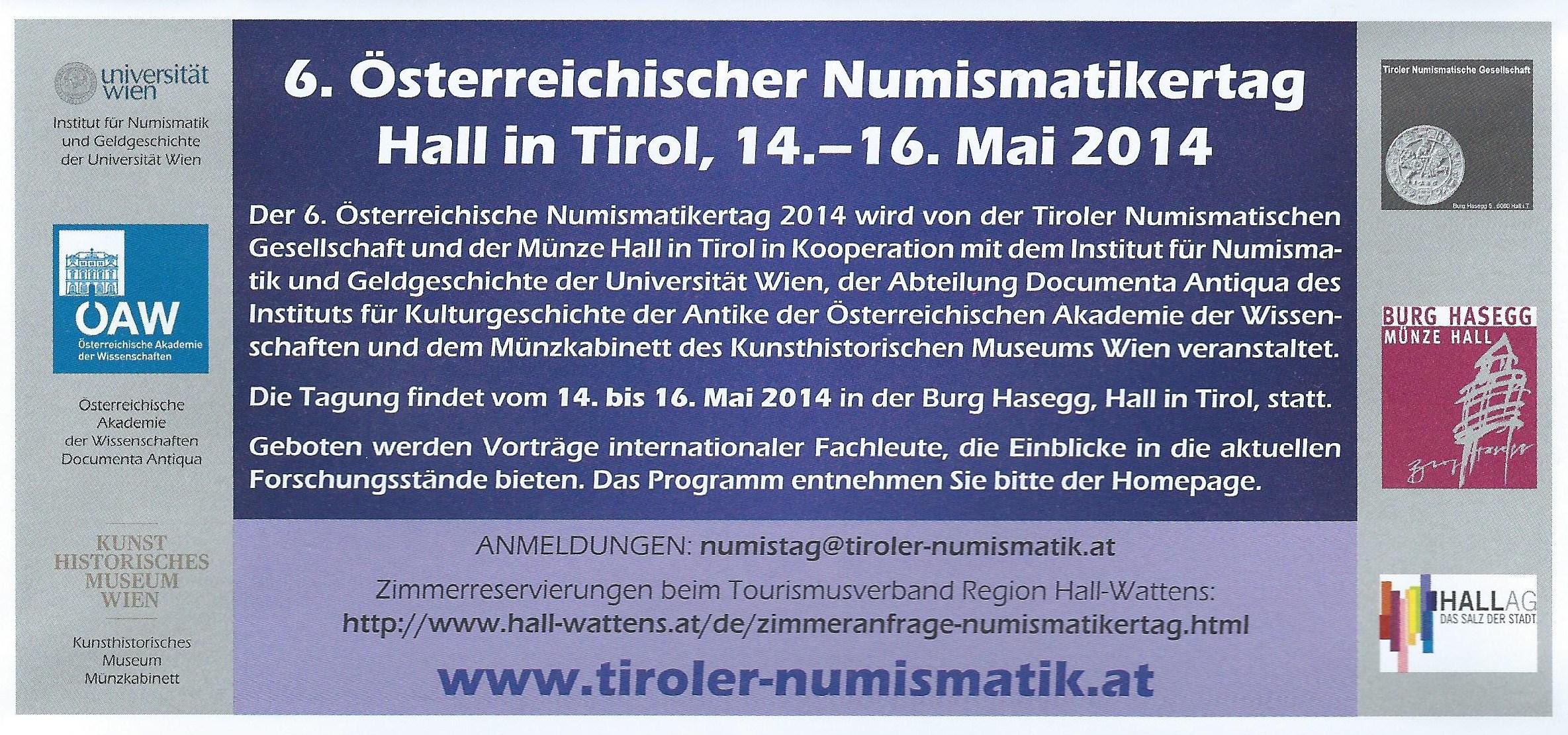 6. Österreichischer Numismatikertag, Hall/Tirol, 14.-16.5.2014