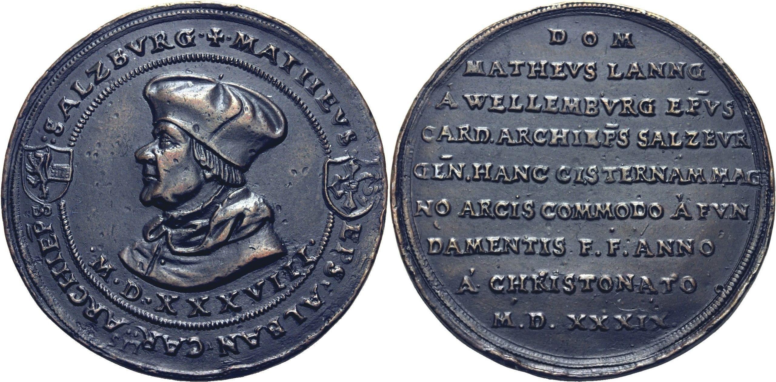 Matheus Lang von Wellenburg, Bronzemedaille 1539