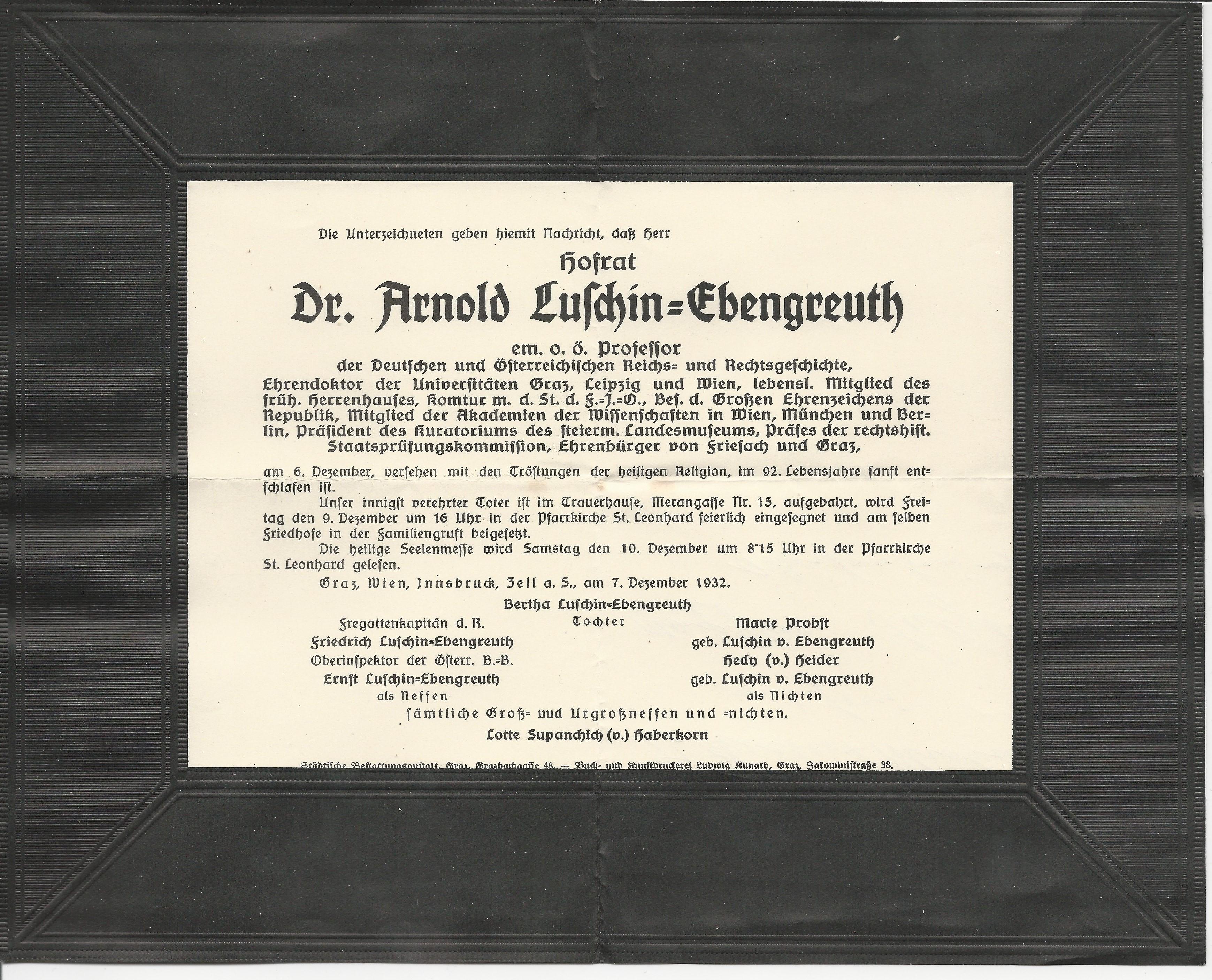 Todesanzeige 1932