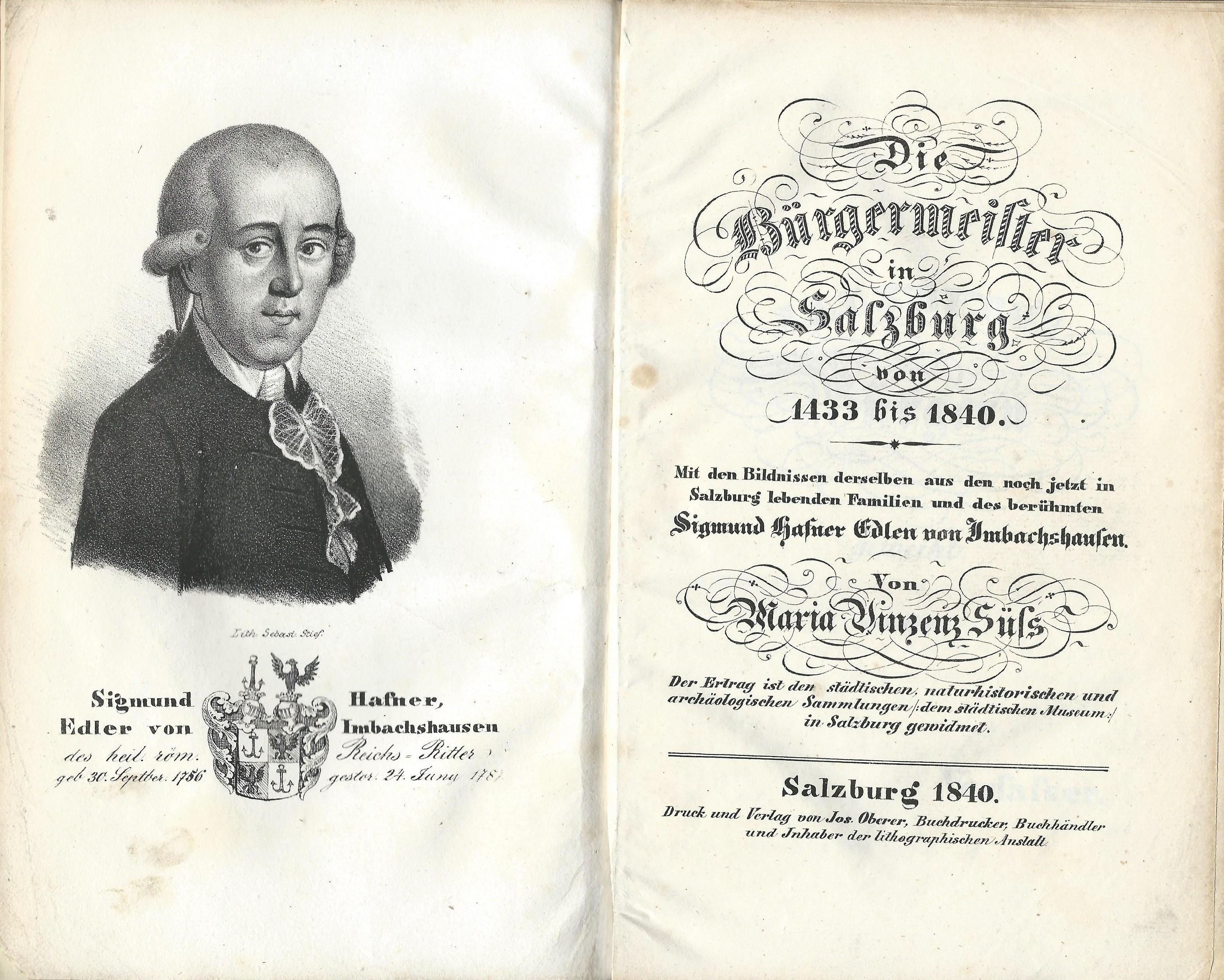 Die Bürgermeister in Salzburg… , Salzburg 1840