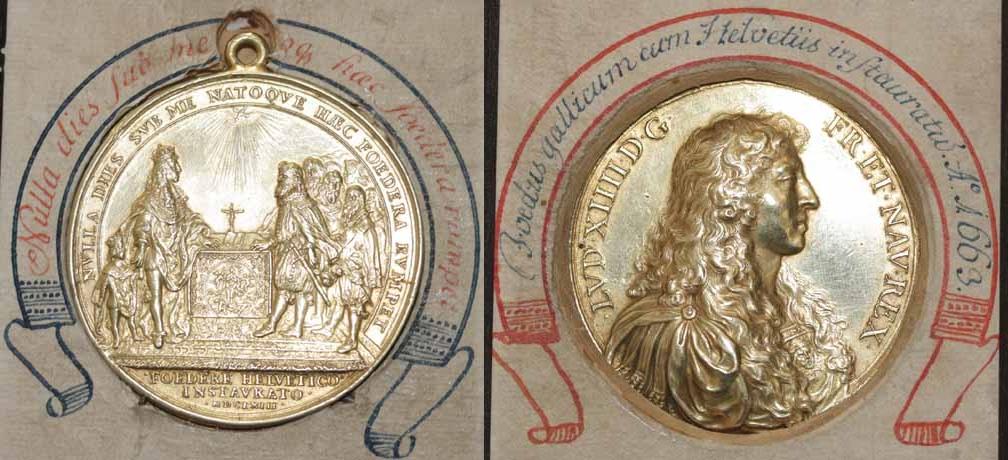 Medaille 1663 auf das Bündnis der Schweizer Orte mit Ludwig 14. .
