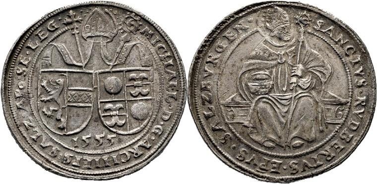 Michael von Kuenburg, Dicker Doppelguldiner 1555, Busso Peus, Auktion 27.4.2016