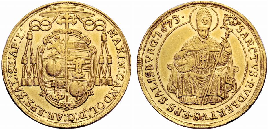 Dreifacher Dukat 1673, Max Gandolph,  sehr selten !