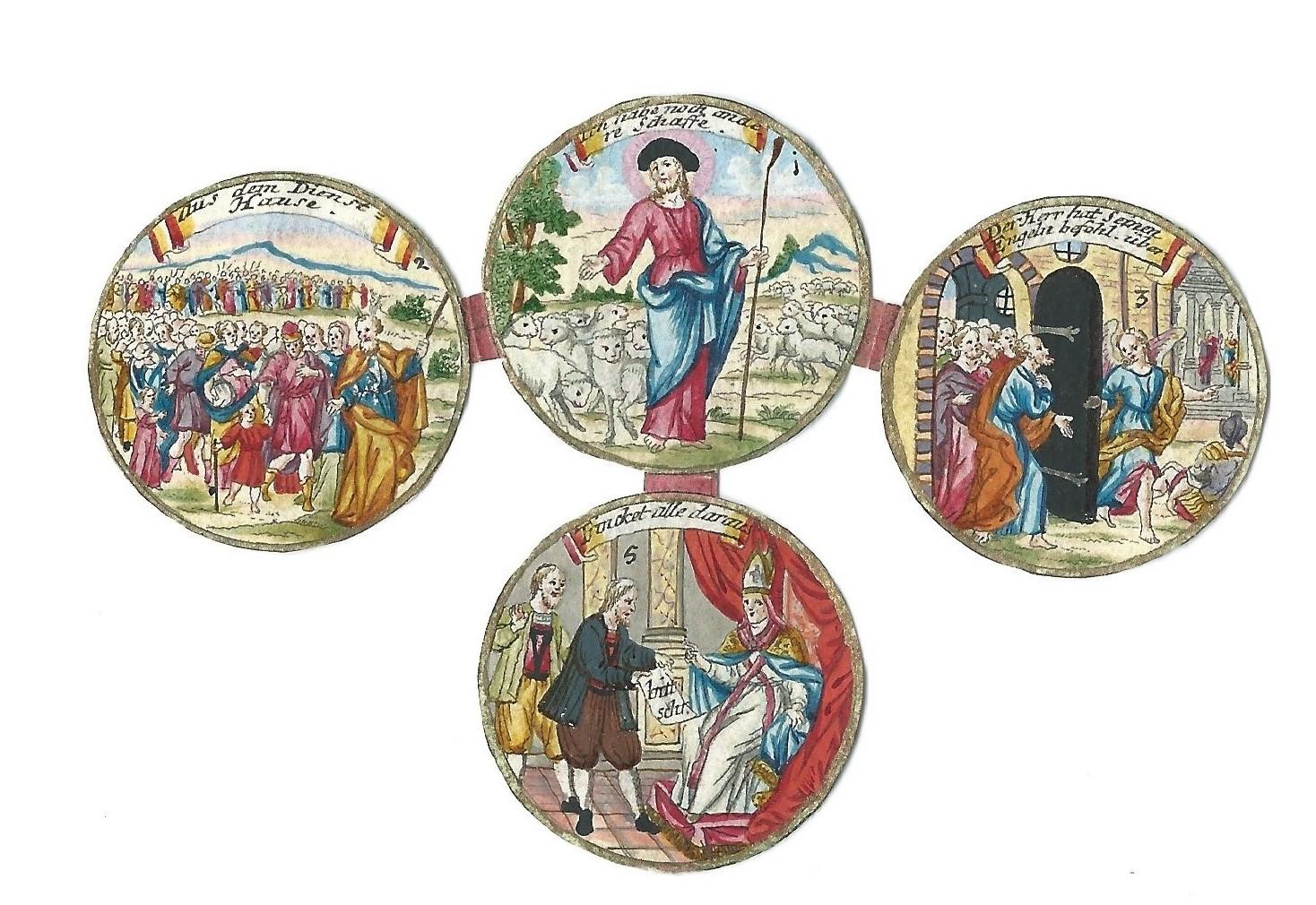Kupfersticheinlagen einer Emigrantenmedaille 1732
