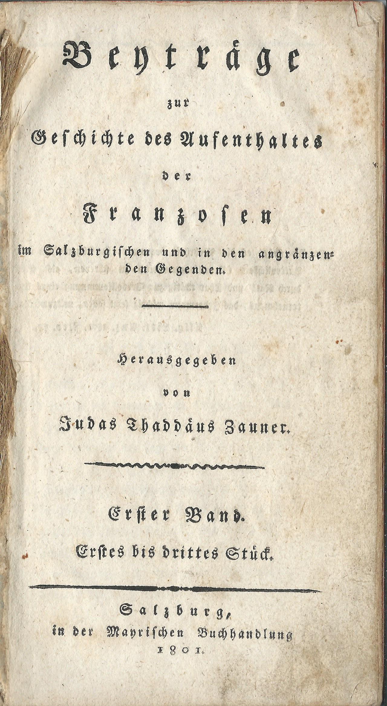 Beyträge zur Geschichte… Salzburg 1801