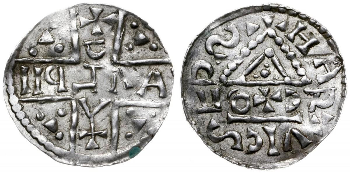 Denar des Erzbischofs Hartwig mit Herzog Adalbero von Kärnten (Bild WCN Auktion 66, 10.9.2016)