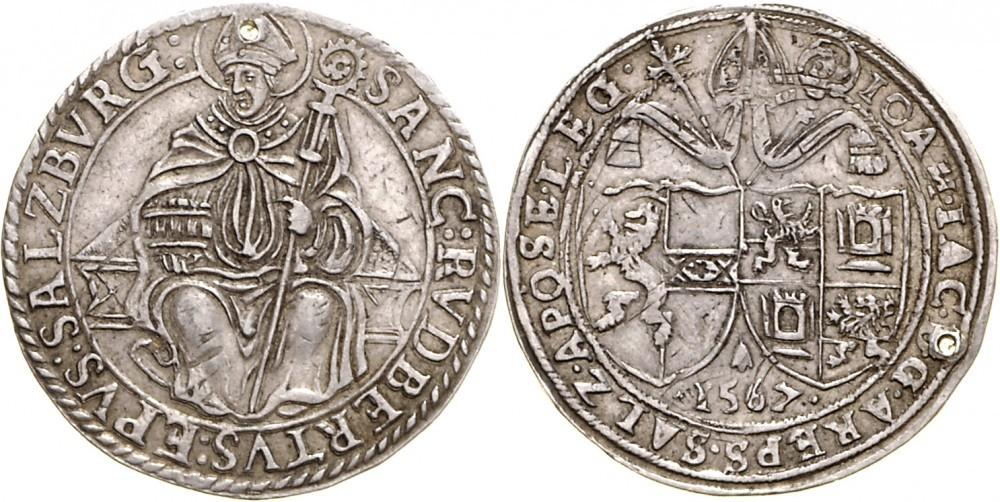 Halbtaler 1567 unedierte Variante mit sitzendem Heiligen