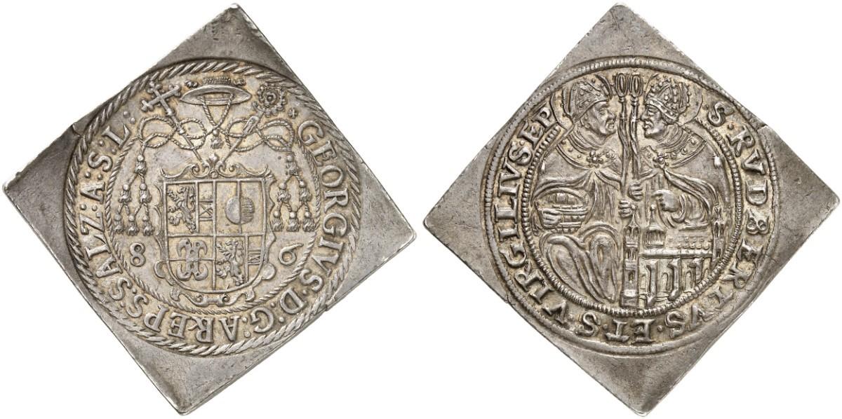 Halbtalerklippe 1586 Georg von Kuenburg (Foto: Auktionshaus Künker)