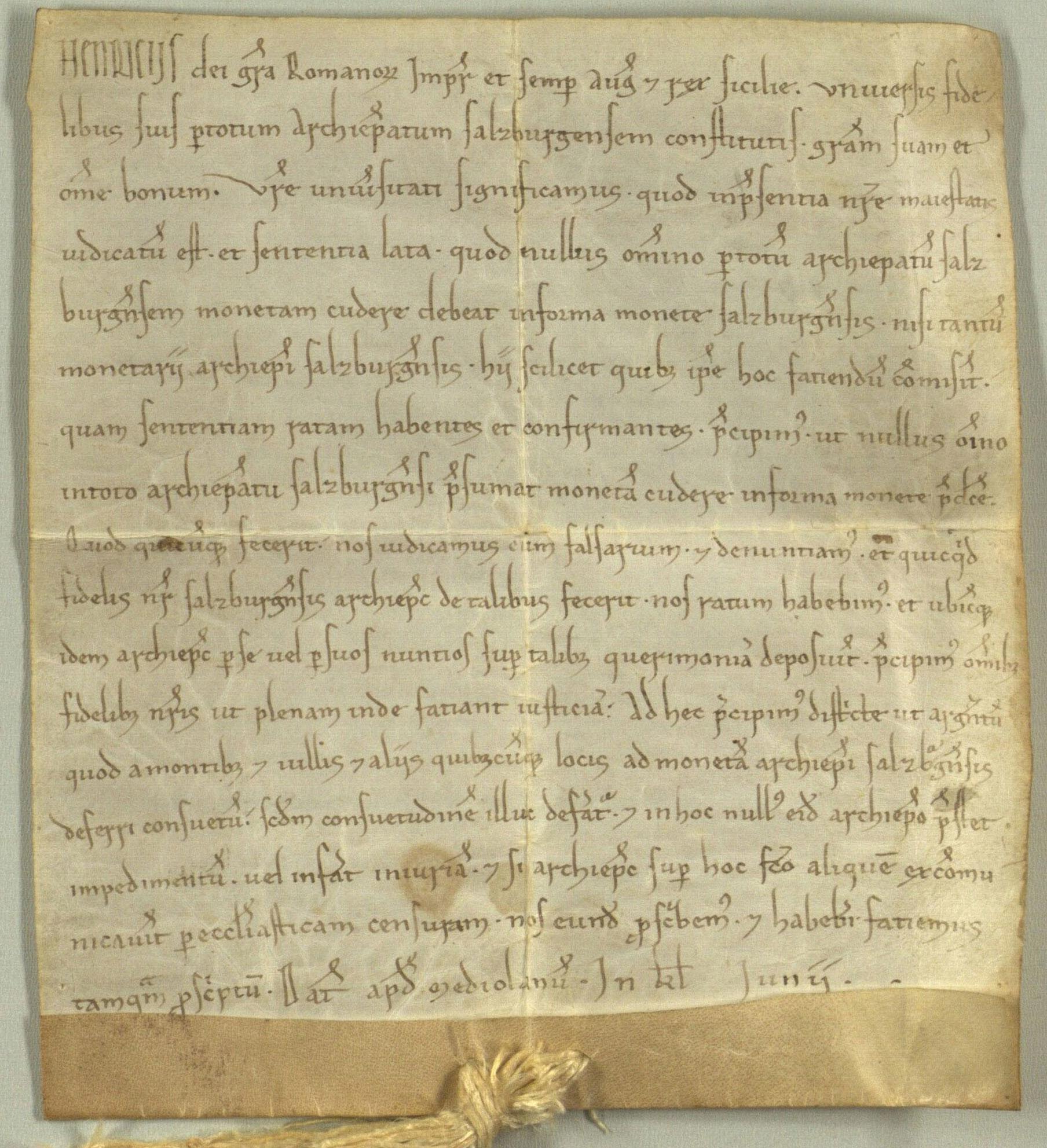 Heinrich 6., Salzburger Münzrecht von 1195
