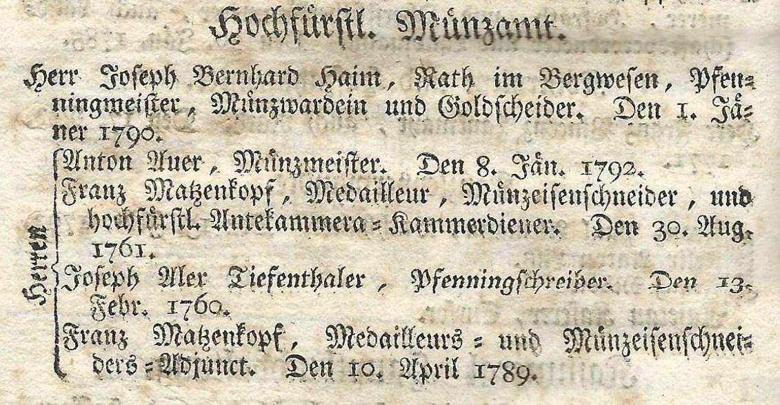Angestellte der Münze Salzburg 1796