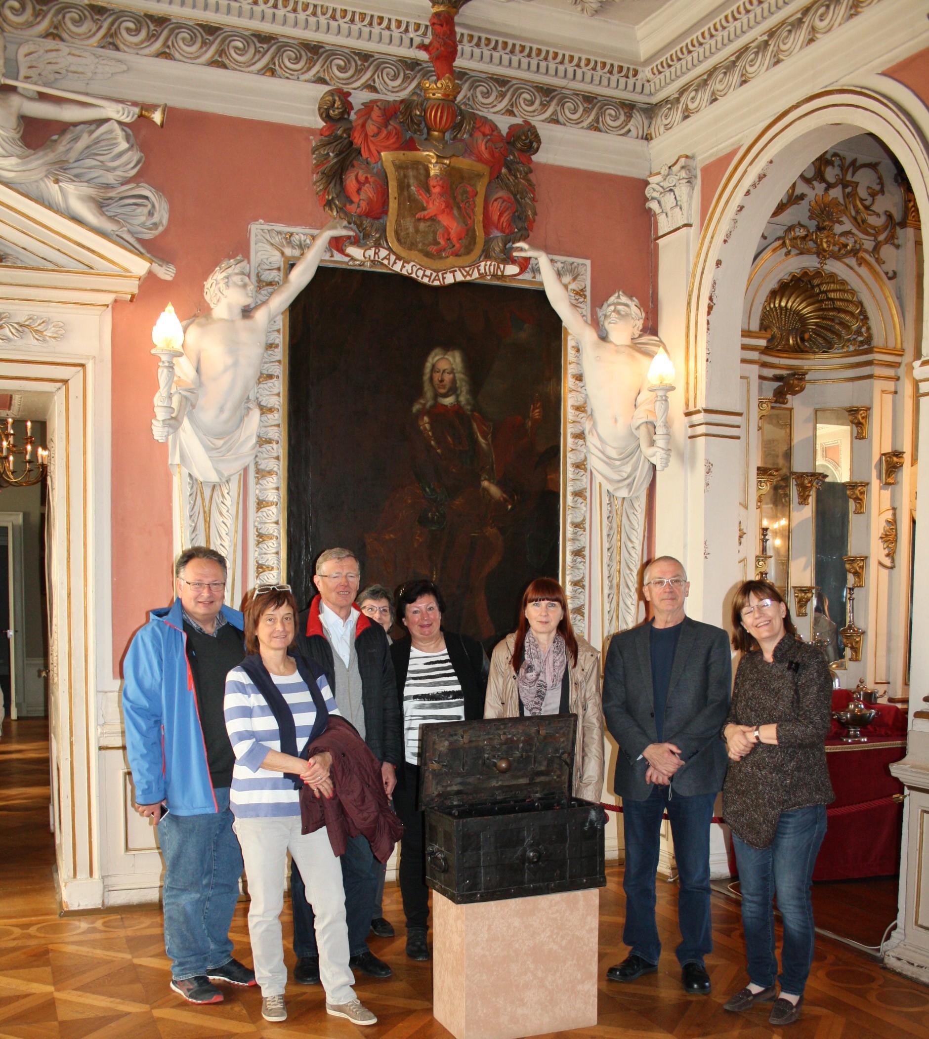 Schloss Friedenstein, Porträt Herzog Friedrich 2., Gründer des Münzkabinetts, Leiterin Uta Wallenstein und SNG.