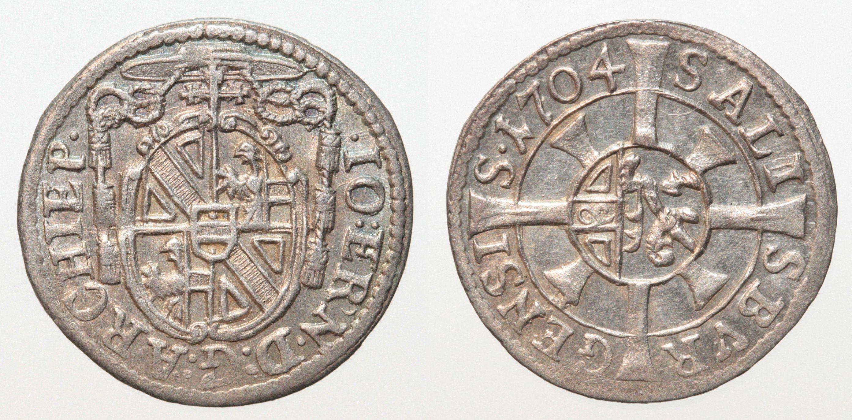 FEHLPRÄGUNG Kreuzer 1704 Salzburg
