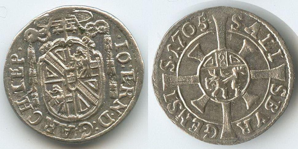 FEHLPRÄGUNG Kreuzer 1705 Salzburg