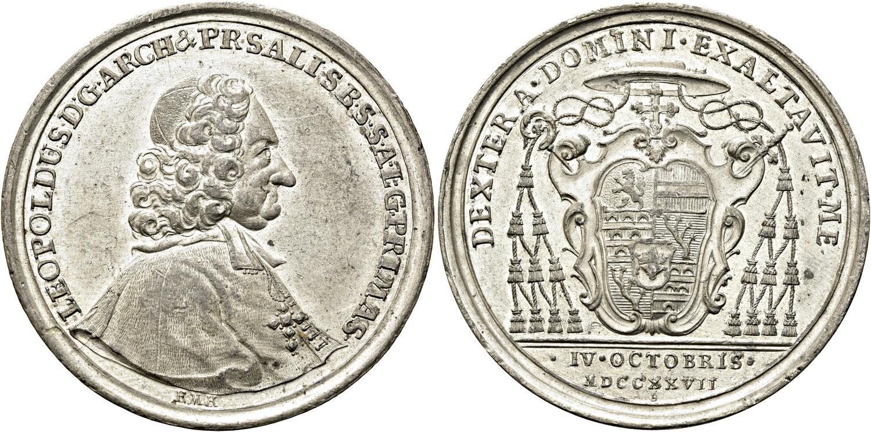 Zinnmedaille 1727 auf den Regierungsantritt Firmians (Bild:Auktionshaus Gorny & Mosch, München)