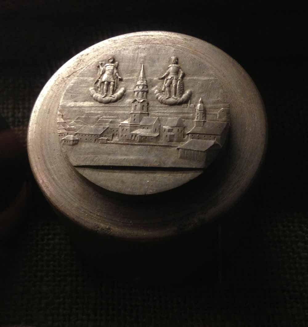 Patrizenstempel der Stiftsansicht der beiden Mattsee Medaillen