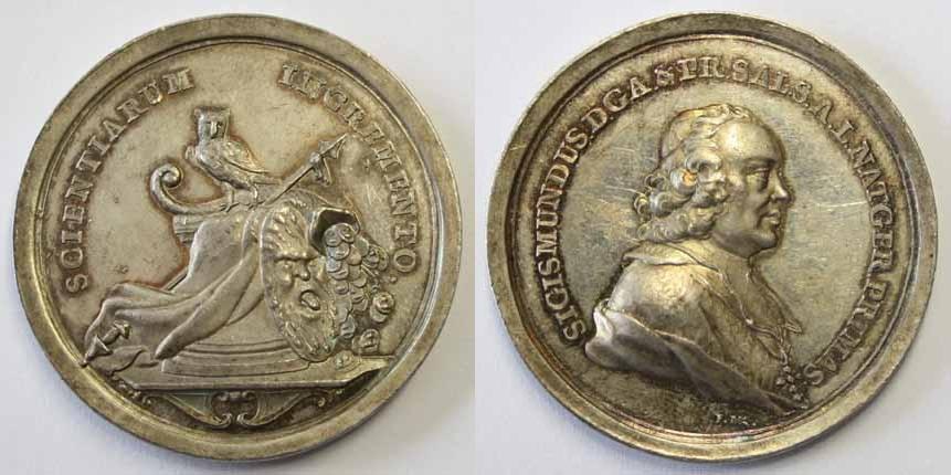Sigismund von Schrattenbach, Medaille auf die Wissenschaften