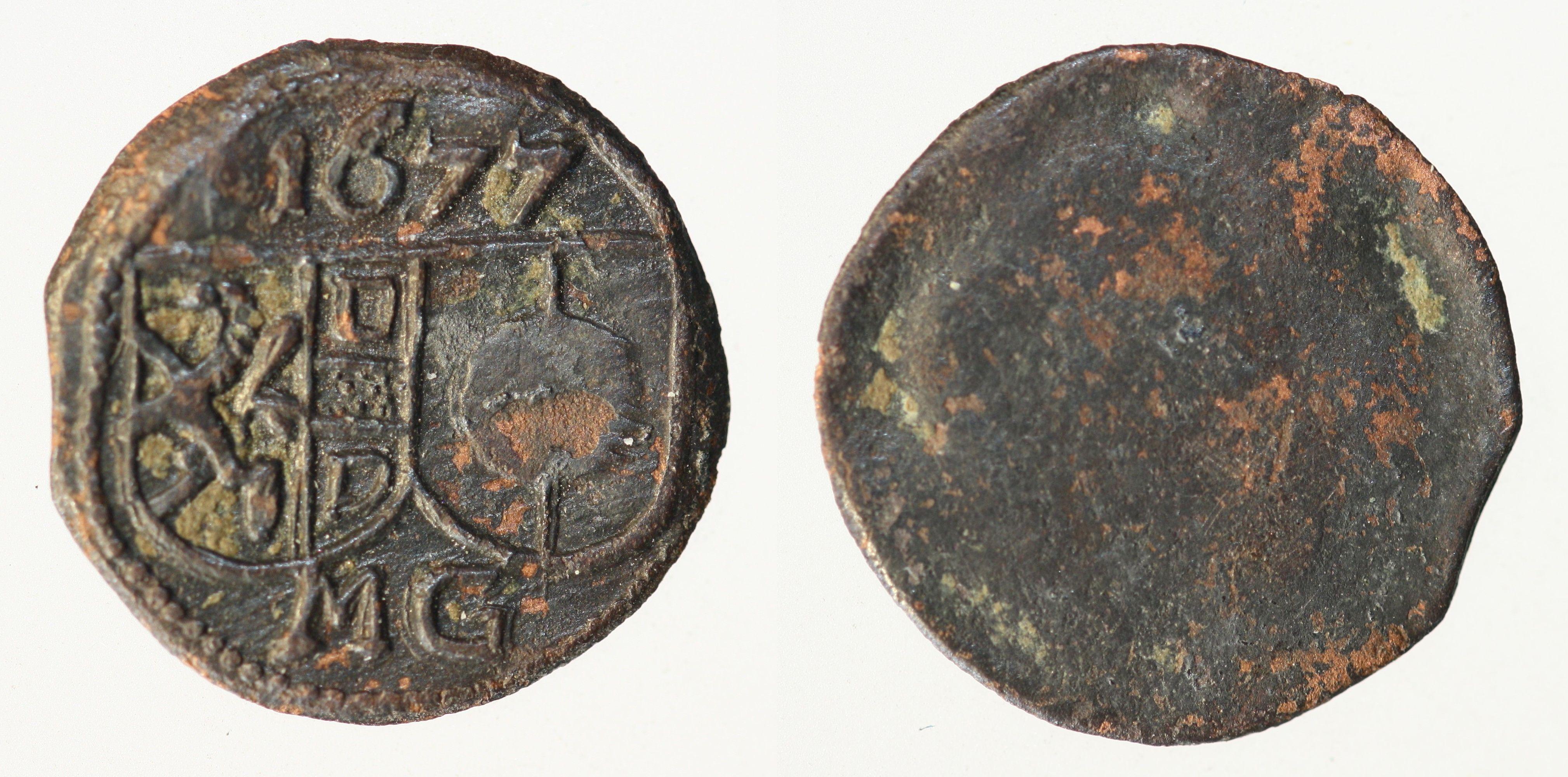 Zeitgenössische Fälschung des  Pfennigs 1677