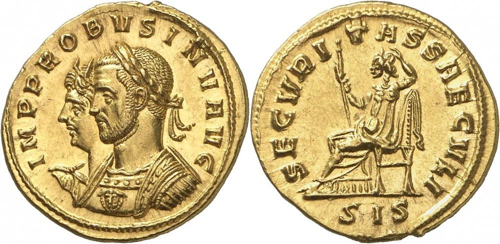 Probus, Aureus, Siscia; Numismatica Genevensis Auktion 8, 24.11.2114