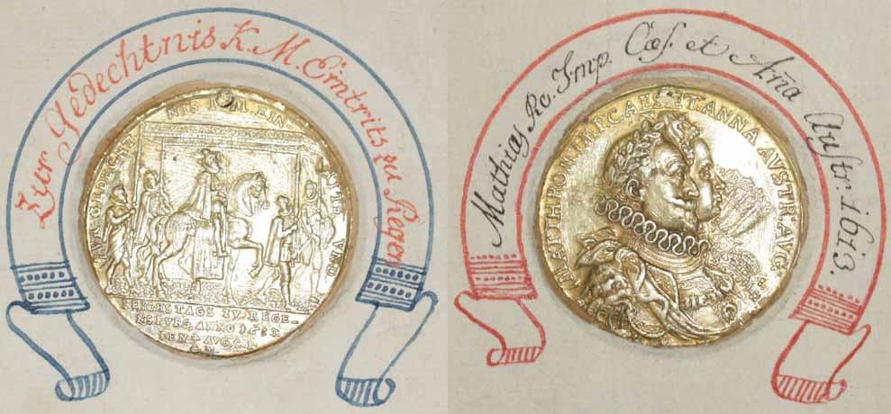 Medaille 1613 auf den Einzug Kaiser Matthias am Reichstag zu Regensburg