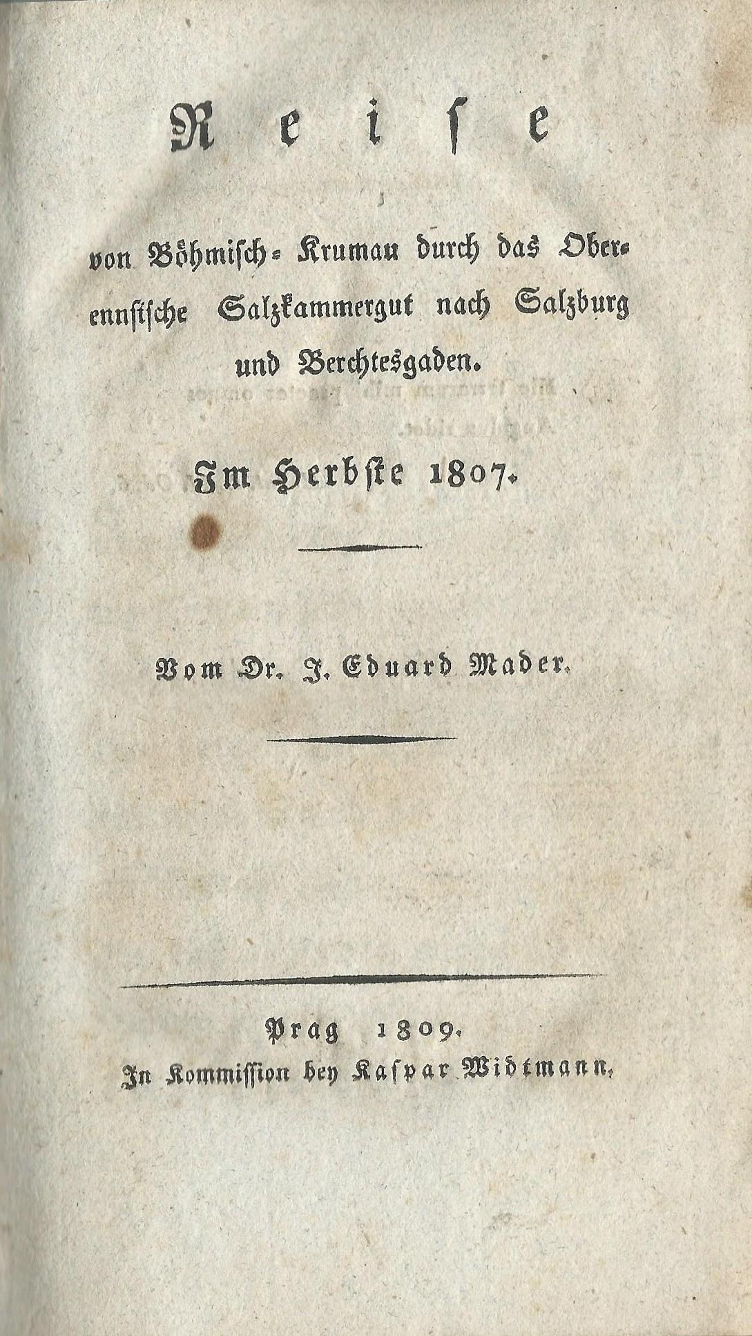 Reise.. nach Salzburg.. . Im  Herbste 1807. Prag 1809