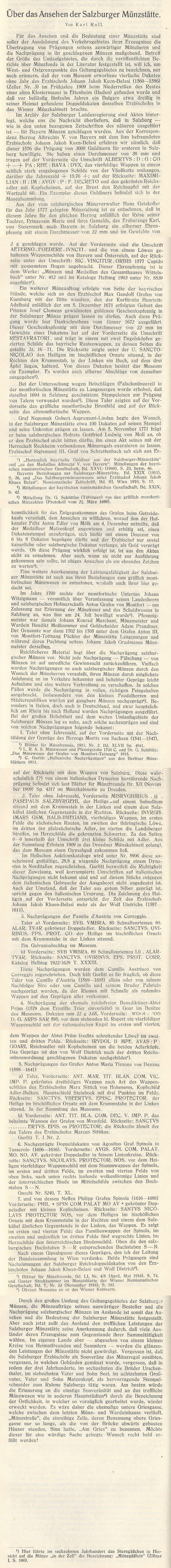 Salzburger Beischläge - Karl Rolls Aufsatz in der Salzburger Landeskunde 192