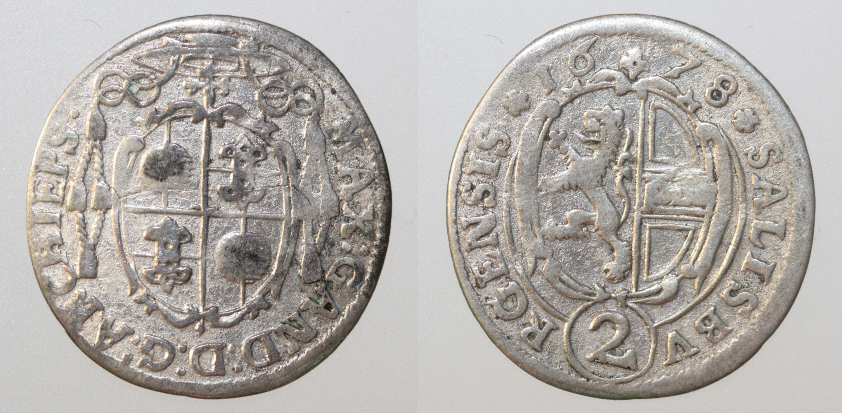 Salzburg Halbbatzen 1678 Max Gandolph von Kuenburg