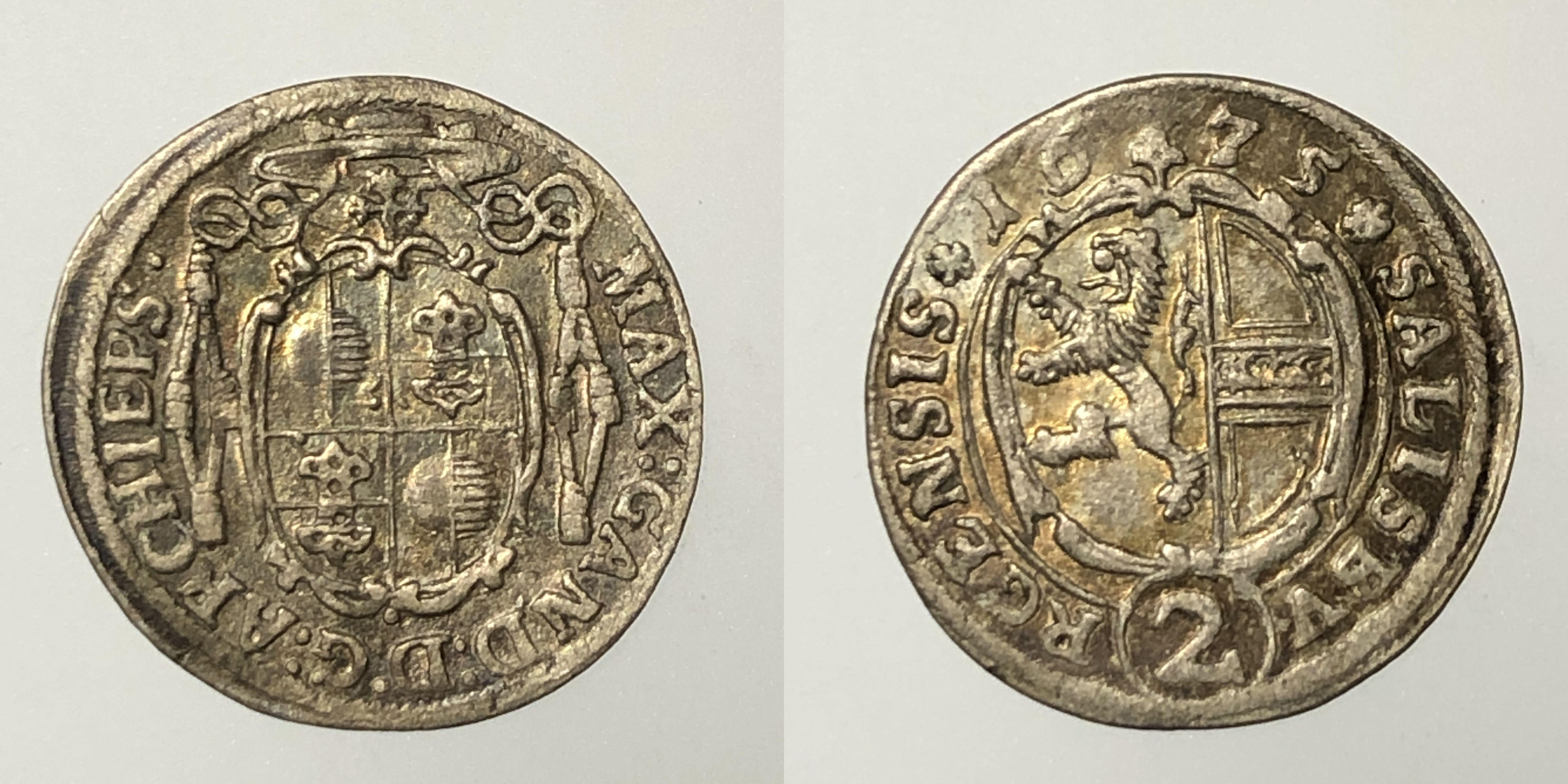 Salzburg Max Gandolph 2 Kreuzer 1675