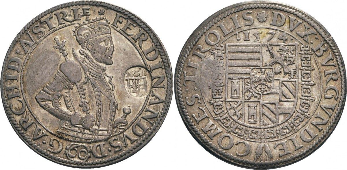 Taler 1574 Hall m.GGst.1681 (Bild: Künker am Dom, München)