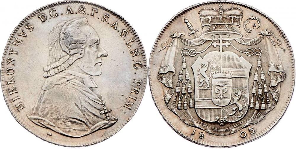 Colloredo, Taler 1803 (Foto Auktionen Frühwald, Salzburg)